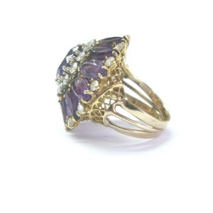 Amethyst & Diamond Cocktail Ring Solid 14Kt Yellow Gold 11.30Ct Size 6 SIZEABLE