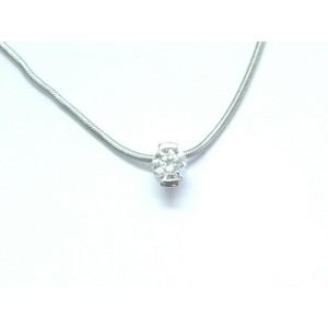 """Movado Round Brilliant Diamond Solitaire Pendant Necklace .33Ct 16"""""""