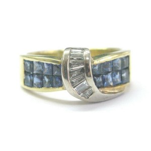 18Kt Gem Sapphire Diamond ByPass Yellow Gold Jewelry Ring 1.28Ct