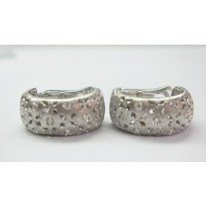 Roberto Coin 18KT Granada Diamond White Gold Huggie Earrings .50CT
