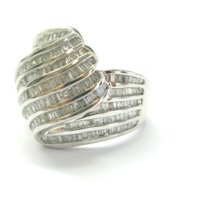 Bypass Baguette Diamond Set Ring & Earrings 14Kt White Gold 4.00Ct