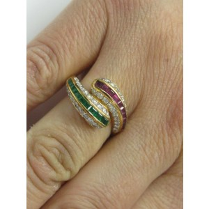 18Kt Natural Sapphire Emerald & Diamond Cocktail ByPass Jewelry Ring 1.77CT