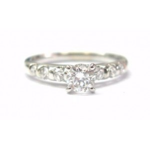 Fine Round Cut Diamond Engagement Solitaire W Accent Ring 0.70Ct White Gold