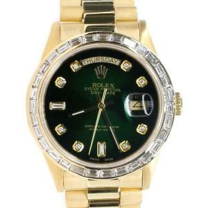 Rolex President Day-Date 36mm Yellow Gold Watch 3CT Baguette Diamond Bezel/Dial