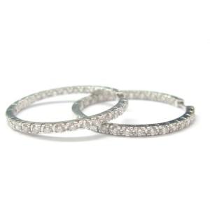 "18Kt Inside Out Diamond Hoop Earrings White Gold 1.70CT 1"""