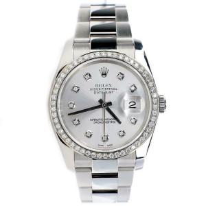 Rolex Datejust 36MM Steel Oyster/Custom Diamond Bezel/Silver Diamond 116200