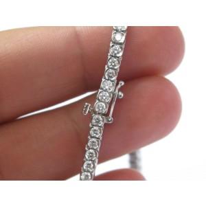 """Platinum Round Cut Diamond Bezel Set Tennis Bracelet 7"""" 5.26CT COLOR MASTERS"""