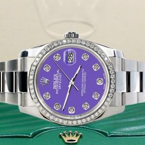 Rolex Datejust 36MM Steel/Custom Diamond Bezel/Lavender Diamond Dial 116200