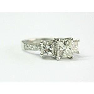 Princess Cut Diamond Three Stone Engagement Ring Platinum 2.03Ct H-VS2