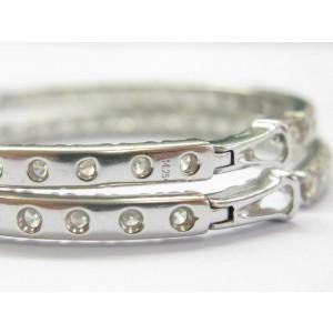 "Inside Out Diamond Hoop Earrings 18Kt White Gold 70-Stones 14.25Ct 2"""