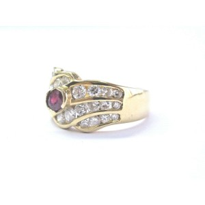 Natural Ruby Diamond Solid Yellow Gold Three Row Jewelry Ring 18KT 1.66Ct