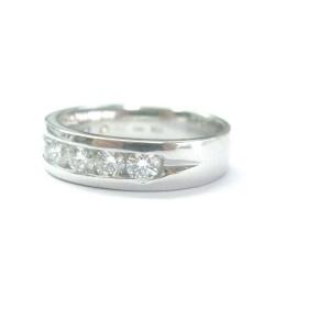 Platinum Round Cut Diamond Channel Set Nine-Stone Band Ring 5.3mm 1.04Ct
