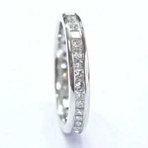 Fine Princess Cut Diamond 38-Stone White Gold Eternity Band Ring Size 6.5 3.5mm