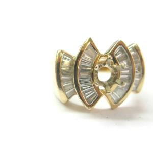 Baguette Diamond Semi Mount Ring 14Kt Yellow Gold 32-Stones 1.28Ct ( .75Ct Round