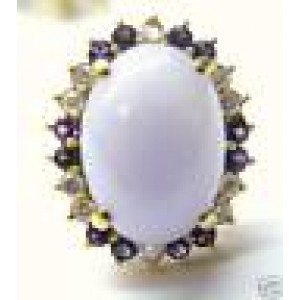 Fine Lavender Jade Amethyst & Diamond Yellow Gold Jewelry Ring 14KT