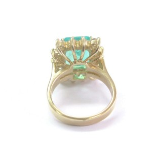 Gem Colombian Green Emerald & NATURAL Diamond Yellow Gold Jewelry Ring 6.06CT