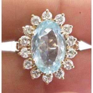 Fine Gem Aquamarine Diamond Yellow Gold Jewelry Ring 7.50CT