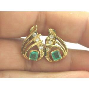Colombian Green Emerald & Diamond Pear Shape Drop Earrings 2.10Ct 18kt YG 18.5mm