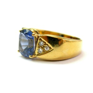 Cushion Tanzanite & Diamond Ring 18Kt Yellow Gold AAAA/VS 2.24Ct+.10Ct SIZEABLE