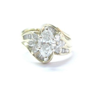 Marquise & Baguette NATURAL Diamond YG Solitaire W Accents Engagement Ring