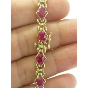 "Oval Ruby & Diamond Yellow Gold Tennis Bracelet 14Kt 8.25"" 12.00Ct"