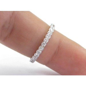 18Kt Round Cut Diamond Bezel Set White Gold Eternity Band .73Ct Size 6.5