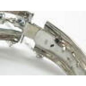 "WIDE Gem Sapphire & NATURAL Diamond Bangle Bracelet White Gold 6.74C 6.75"" G - I"