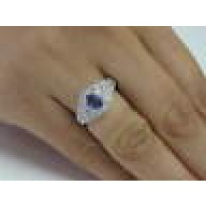 Natural Oval Tanzanite & Diamond Pave Solid White Gold Ring 18Kt 1.20Ct AAA/VS