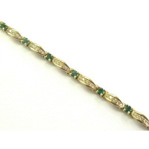 "Colombian Green Emerald & Diamond Tennis Bracelet 14Kt Yellow Gold 6.75"" 3.20Ct"