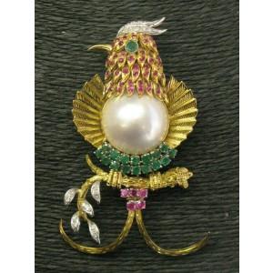 "Mutli Gem & Diamond Bird Brooch 14Kt Yellow Gold 3"" 2.75CT"
