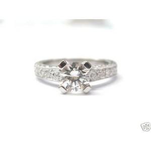 Round Diamond Solitaire Milgrain Ring 18KT Solid White Gold