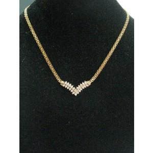 "Fine Round Cut Diamond 2-Row Yellow Gold Necklace .80Ct 16"""