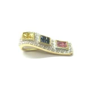 Multi Color Sapphire & Diamond Pendant 14Kt Yellow Gold 1.17Ct 22.6mm