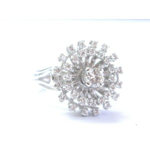 Fine Round Cut Diamond Circular White Gold Solitaire W Accent Jewelry Ring .96CT