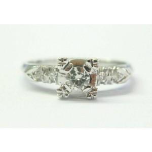 Vintage Old European & Single Cut Diamond White Gold Engagement Ring .26Ct