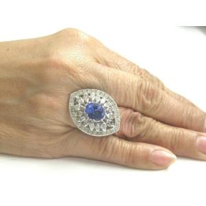 Oval Tanzanite & Diamond Ring 18Kt White Gold BIG/ HUGE 5.97Ct AAAA/VS