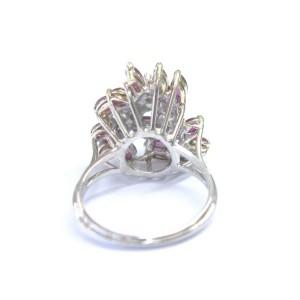 Fine Gem Ruby Diamond 2-Tone Gold Cluster Jewelry Ring 14Kt 1.50Ct