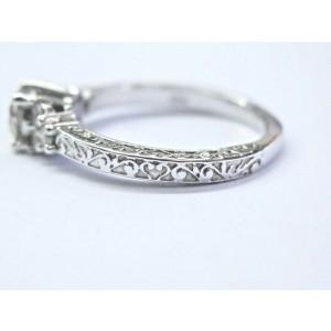 Milgrain Natural Round Diamond White Gold Engagement Ring GIA .74Ct J-SI1 18KT