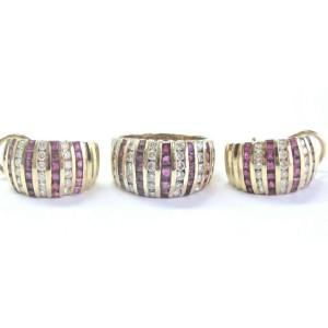 Fine Gem Ruby & Diamond Yellow Gold Ring & Earrings 5.85Ct 14Kt