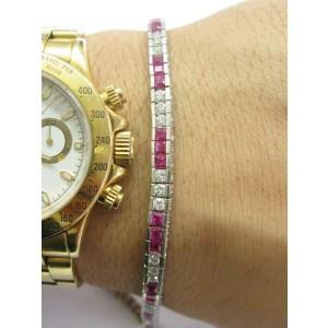 "Natural Ruby & Diamond White Gold Tennis Bracelet 7 1/4"" 4.95Ct 14KT"