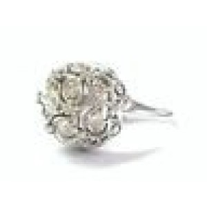 Vintage Old European Cut Diamond Cluster Ring Solid White Gold 14KT 1.20Ct