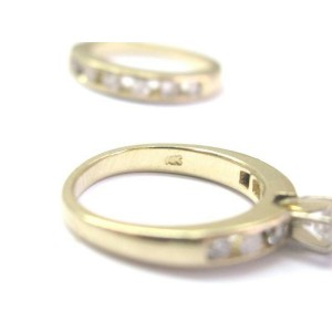 Natural Round Diamond Solitaire Channel Set Accents Yellow Gold Engagement Ring