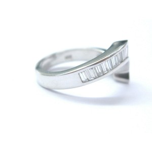 Natural Princess & Baguette Diamond Band Ring 14Kt White Gold .84Ct F-VS1