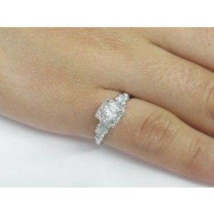Round Diamond Solitaire W/ Accent Engagement Ring Solid 14Kt White Gold F-VVS2