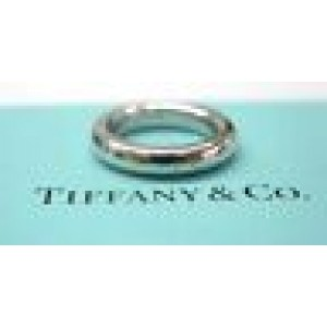 Tiffany & Co 18Kt Lucida Band Ring 4mm White Gold Size 3.25