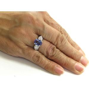 Platinum Natural Oval Tanzanite & Diamond Three Stone Ring 3.34Ct AAAA/VS