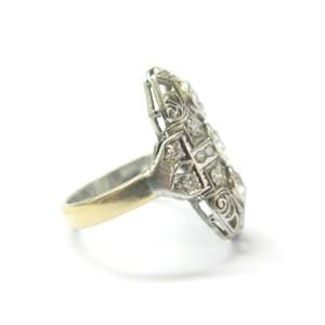 Art Deco Old European Diamond Ring 14Kt/Platinum 1.70Ct G-VS2 SIZEABLE