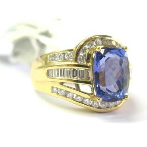 Cushion Tanzanite & Diamond Ring Multi Shape Solid Yellow Gold AAAA/VS 6.11Ct