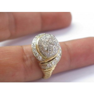 Dome Shape Diamond Ring 18Kt Yellow Gold 2.25Ct SIZEABLE