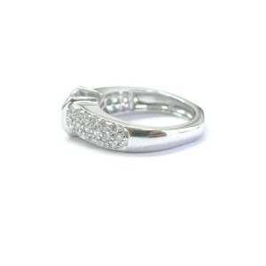 Fine Round Cut Diamond Solitaire W Accents Pave Engagement Ring White Gold .92Ct